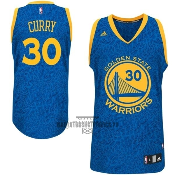 Meilleur Maillot NBA Golden State Warriors Luz Léopard NO.30 Curry Bleu