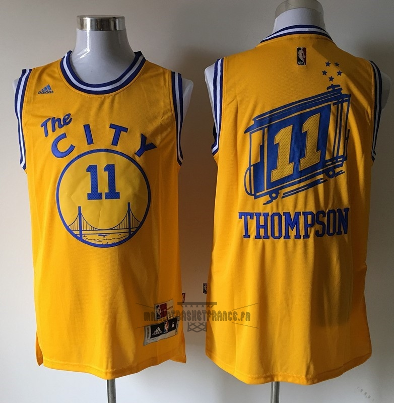 Meilleur Maillot NBA Golden State Warriors NO.11 Klay Thompson Jaune
