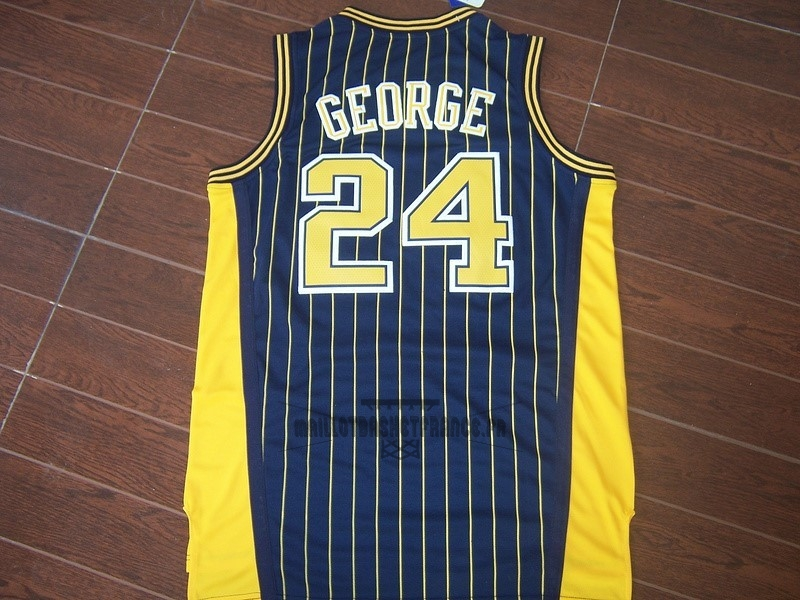 Meilleur Maillot NBA Indiana Pacers NO.24 Paul George Bleu Bande
