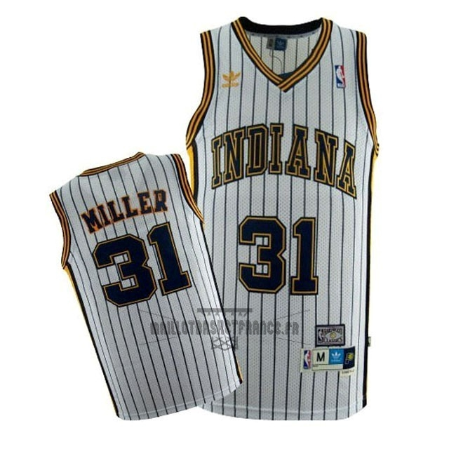 Meilleur Maillot NBA Indiana Pacers NO.31 Reggie Miller Blanc Bande