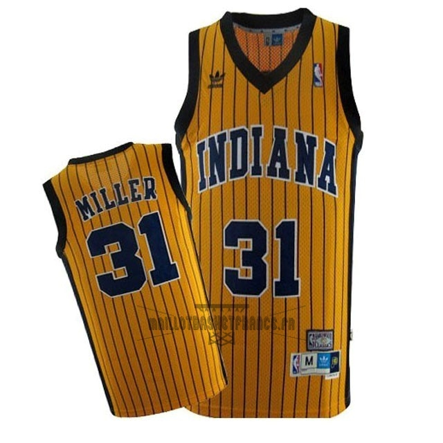 Meilleur Maillot NBA Indiana Pacers NO.31 Reggie Miller Jaune Bande