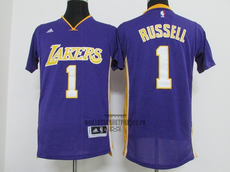 Meilleur Maillot NBA Los Angeles Lakers Manche Courte NO.1 D'Angelo Russell Pourpre