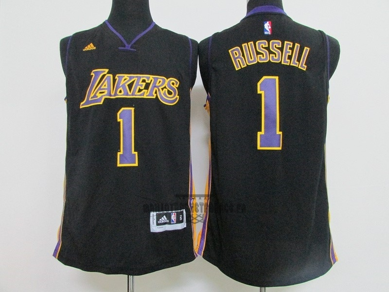 Meilleur Maillot NBA Los Angeles Lakers NO.1 D'Angelo Russell Noir
