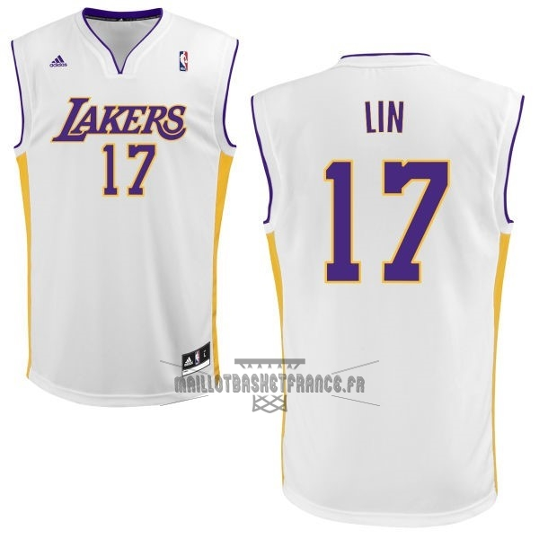 Meilleur Maillot NBA Los Angeles Lakers NO.17 Jeremy Lin Blanc