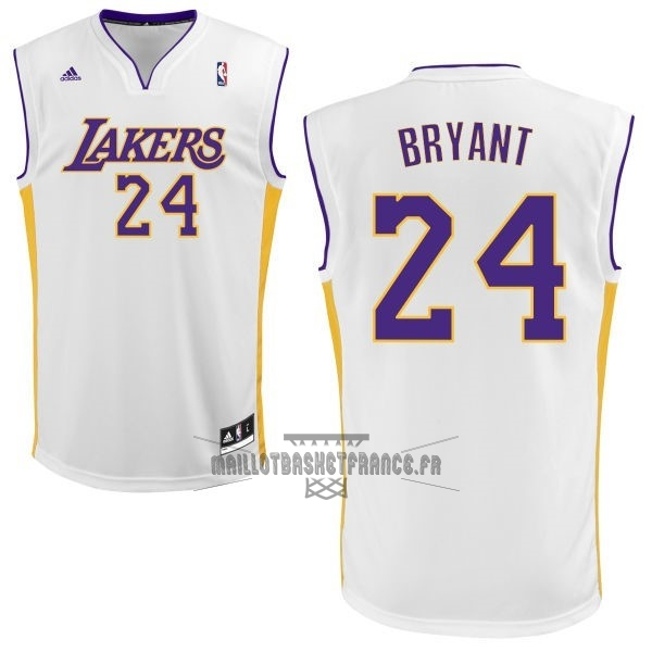 Meilleur Maillot NBA Los Angeles Lakers NO.24 Kobe Bryant Blanc