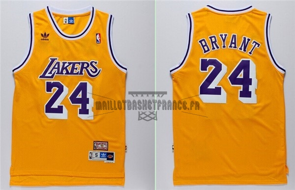 Meilleur Maillot NBA Los Angeles Lakers NO.24 Kobe Bryant Retro Jaune