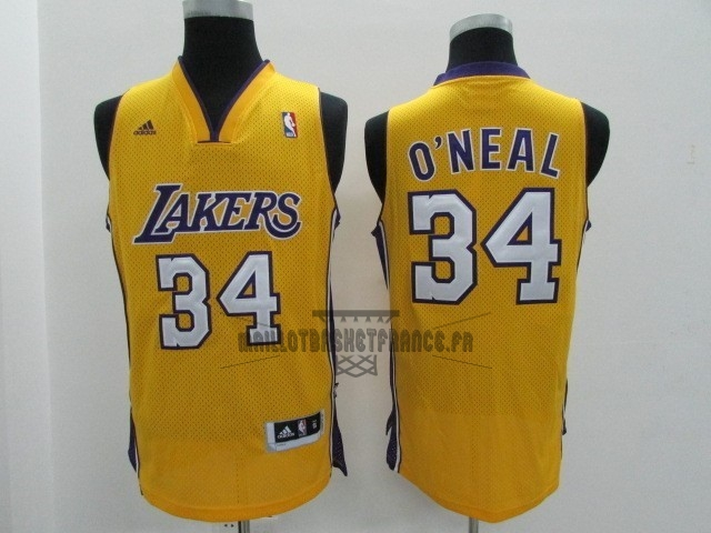 Meilleur Maillot NBA Los Angeles Lakers NO.34 Shaquille O'Neal Jaune