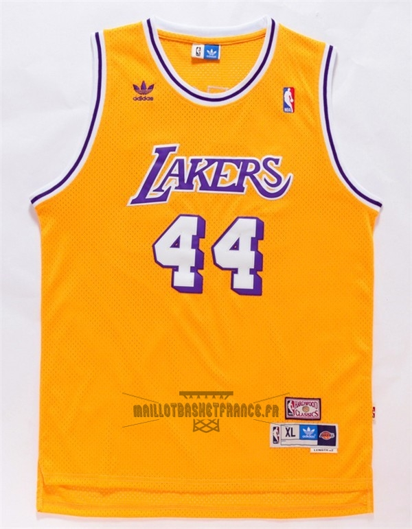 Meilleur Maillot NBA Los Angeles Lakers NO.44 Jerry West Jaune