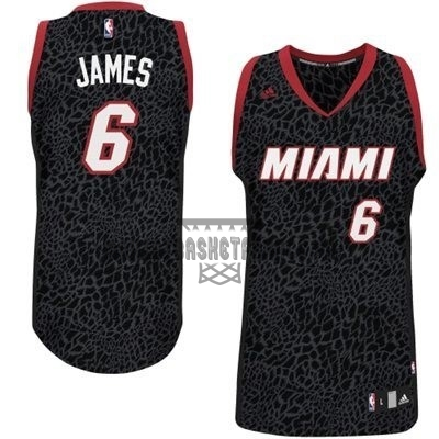 Meilleur Maillot NBA Miami Heat Luz Léopard NO.6 James Noir