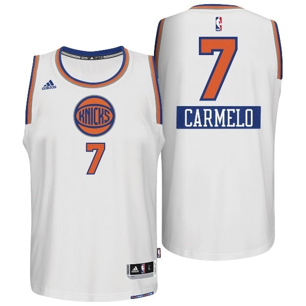 Meilleur Maillot NBA New York Knicks 2014 Noël NO.7 Carmelo Blanc
