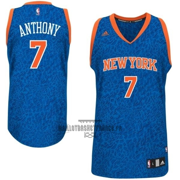 Meilleur Maillot NBA New York Knicks Luz Léopard NO.7 Anthony Bleu