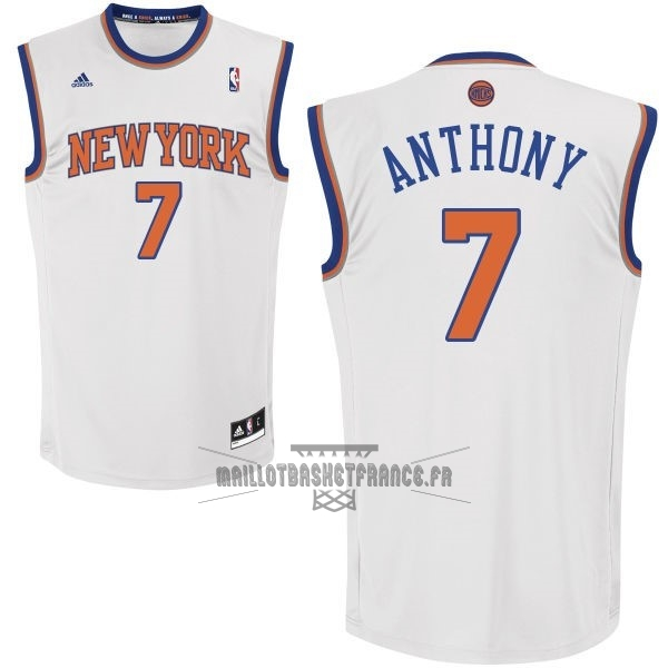 Meilleur Maillot NBA New York Knicks NO.7 Carmelo Anthony Blanc