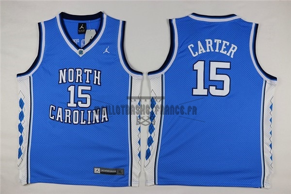 Meilleur Maillot NCAA Enfant North Carolina NO.15 Vince Carter Bleu
