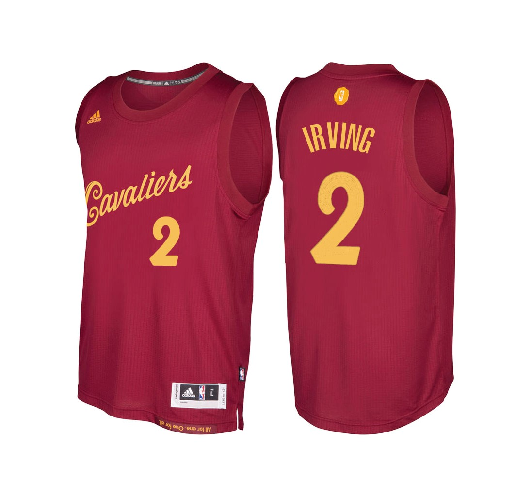 Meilleur Maillot NBA Cleveland Cavaliers 2016 Noël NO.2 Kyrie Irving Rouge