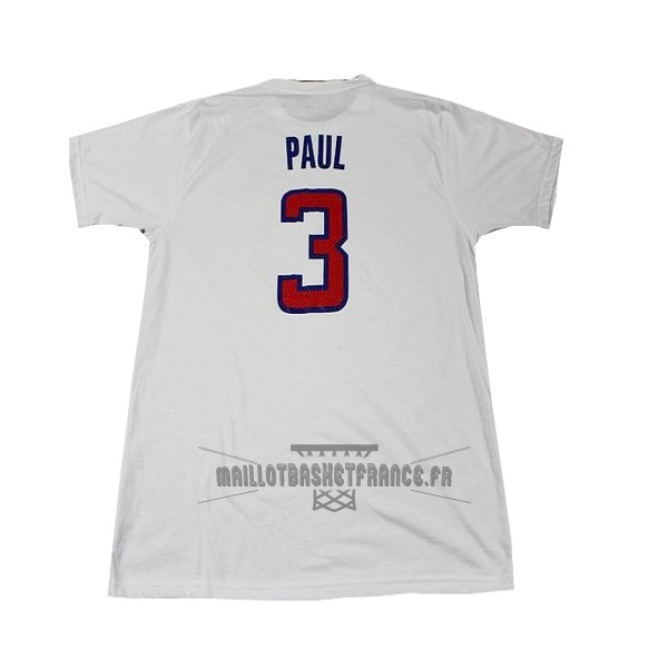 Meilleur Maillot NBA Los Angeles Clippers Manche Courte NO.3 Paul Blanc