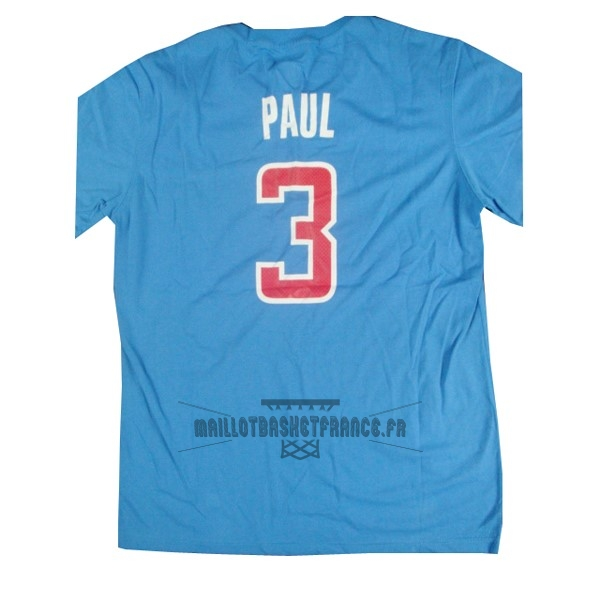 Meilleur Maillot NBA Los Angeles Clippers Manche Courte NO.3 Paul Bleu