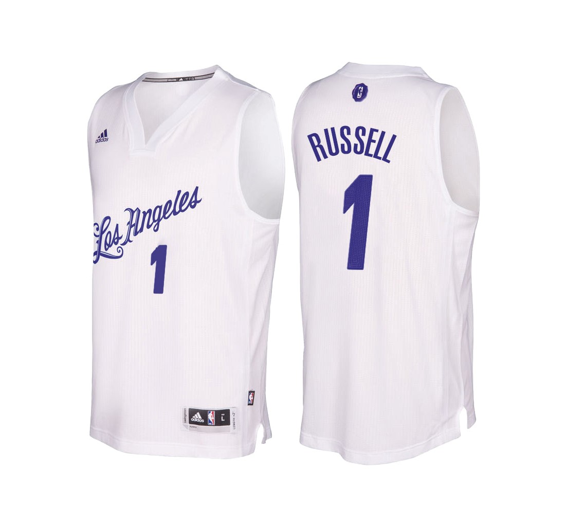Meilleur Maillot NBA Los Angeles Lakers 2016 Noël NO.1 D'Angelo Russell Blanc